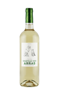 chateau-des-arras-bordeaux-white-wine-bottle-dog-cat-label