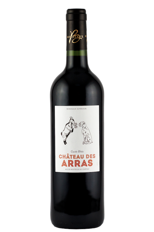 chateau-des-arras-bordeaux-superieur-red-wine-vegan-dog-goat-label