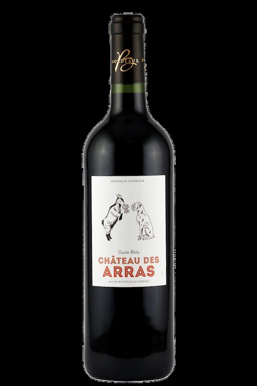 chateau-des-arras-bordeaux-superieur-red-wine-vegan-dog-goat-label