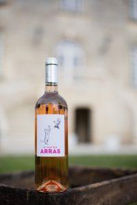 chateau-des-arras-wine -bottle -rose-cat-chicken-label